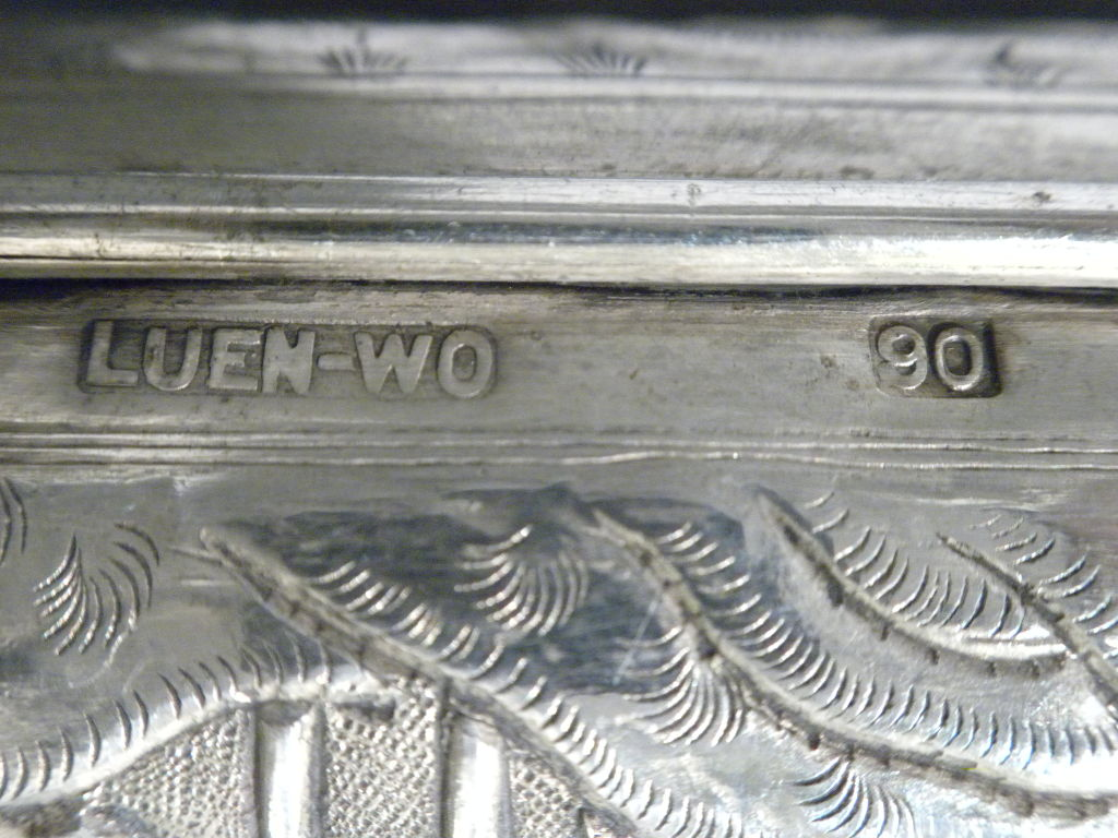 Antique Chinese Export Silver Cigar Case, Luen Wo, Circa 1880 10