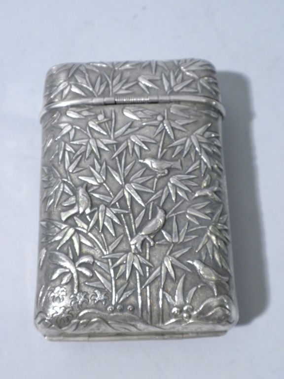 Antique Chinese Export Silver Cigar Case, Luen Wo, Circa 1880 2