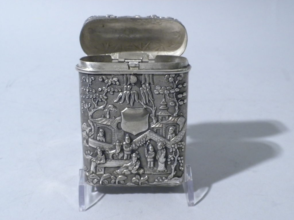 Antique Chinese Export Silver Cigar Case, Luen Wo, Circa 1880 3