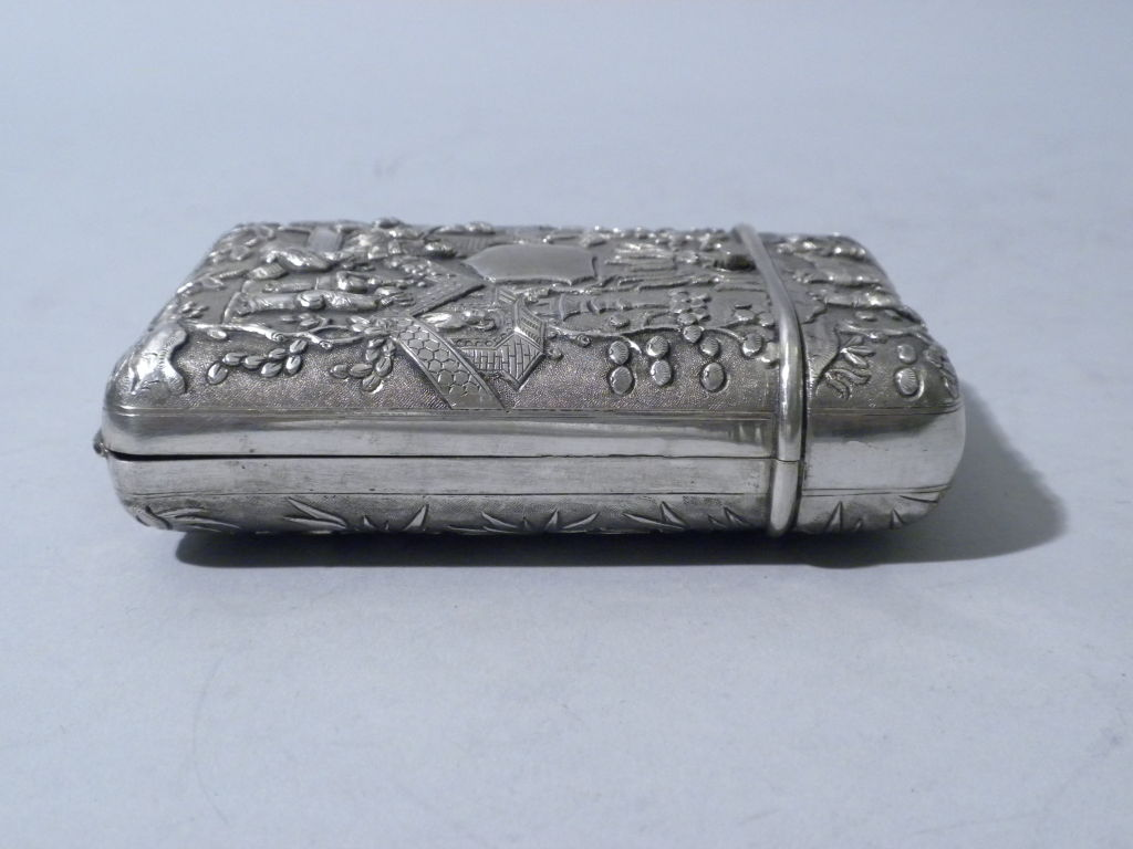 Antique Chinese Export Silver Cigar Case, Luen Wo, Circa 1880 4