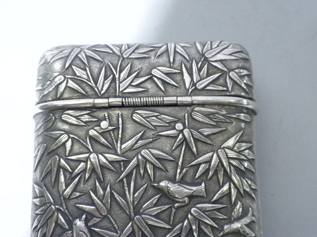Antique Chinese Export Silver Cigar Case, Luen Wo, Circa 1880 5