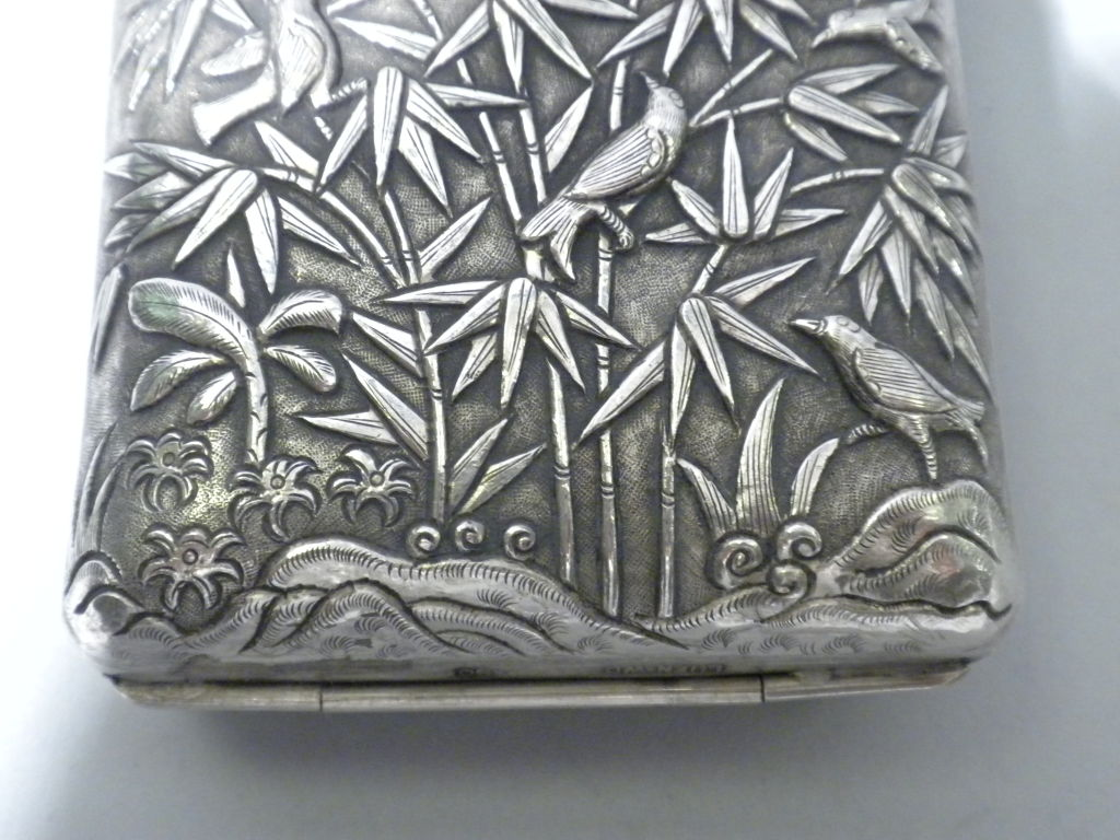 Antique Chinese Export Silver Cigar Case, Luen Wo, Circa 1880 6