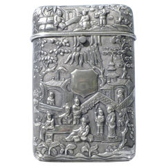 Antique Chinese Export Silver Cigar Case, Luen Wo, Circa 1880