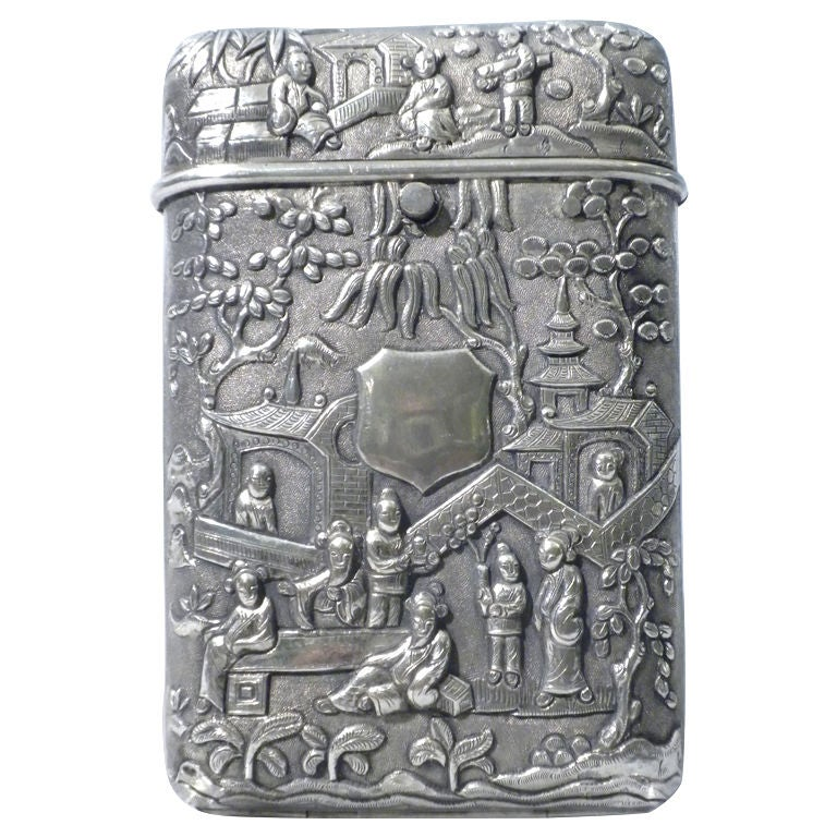Antique Chinese Export Silver Cigar Case, Luen Wo, Circa 1880 1