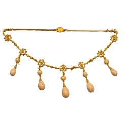 Antique Etruscan Revival Gold and Coral Necklace, Circa 1890