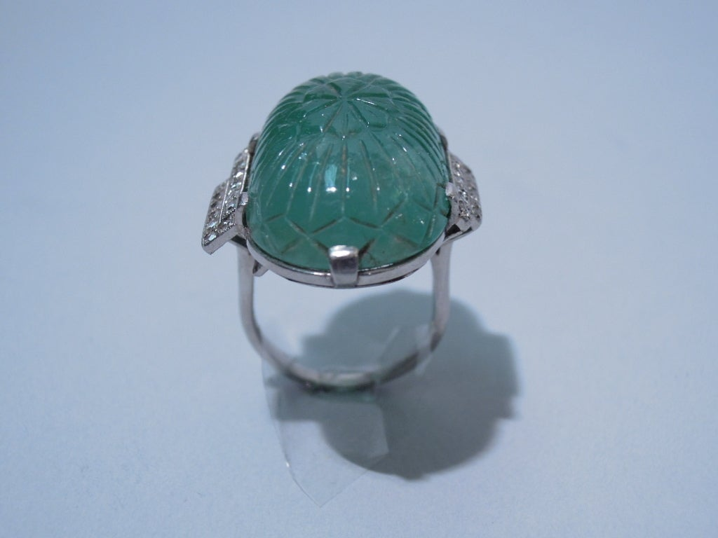 19th c mughal empire carved emerald ring at 1stdibs