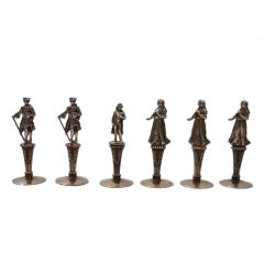 Antique Place Card Holders - Historic Figures - French Silver Gilt  - C 1900