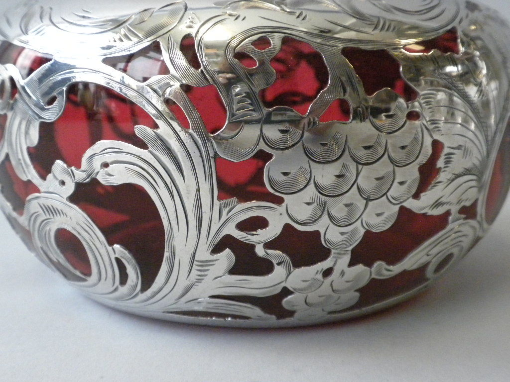 Sterling Silver Cranberry Glass Overlay Decanter image 3