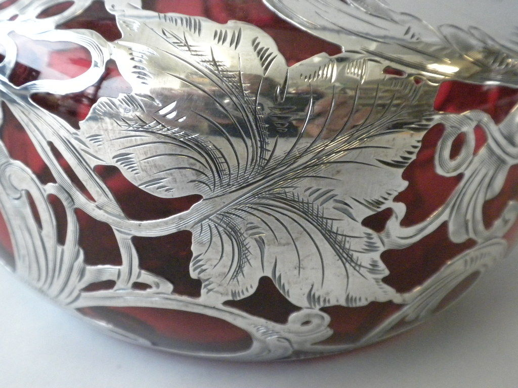 Sterling Silver Cranberry Glass Overlay Decanter image 4