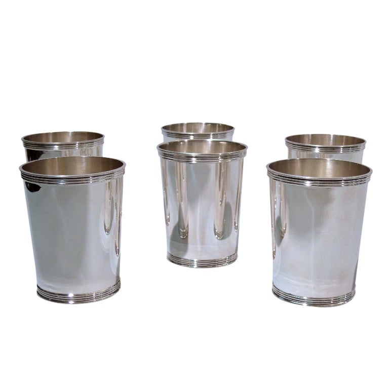 Set Of Six Sterling Silver Mint Julep Cups At 1stdibs