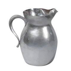Arts & Crafts Water Pitcher - Hand-Hammered Sterling Silver - 1912