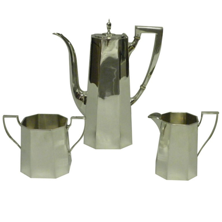 TIFFANY & CO Sterling Silver 3 Piece Demitasse Set, Circa 1950