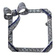 American Bow Pin in Platinum, Diamonds, Sapphires