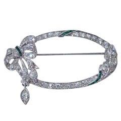 American Bow Pin in Platinum, Diamonds, Emeralds