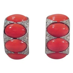 Smart Contemporary Diamond, Platinum & Coral Earrings