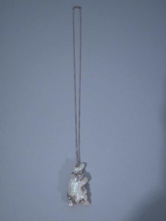 Women's Baroque Pearl Pendant in Form of Bear on 15 Kt Gold Chain For Sale