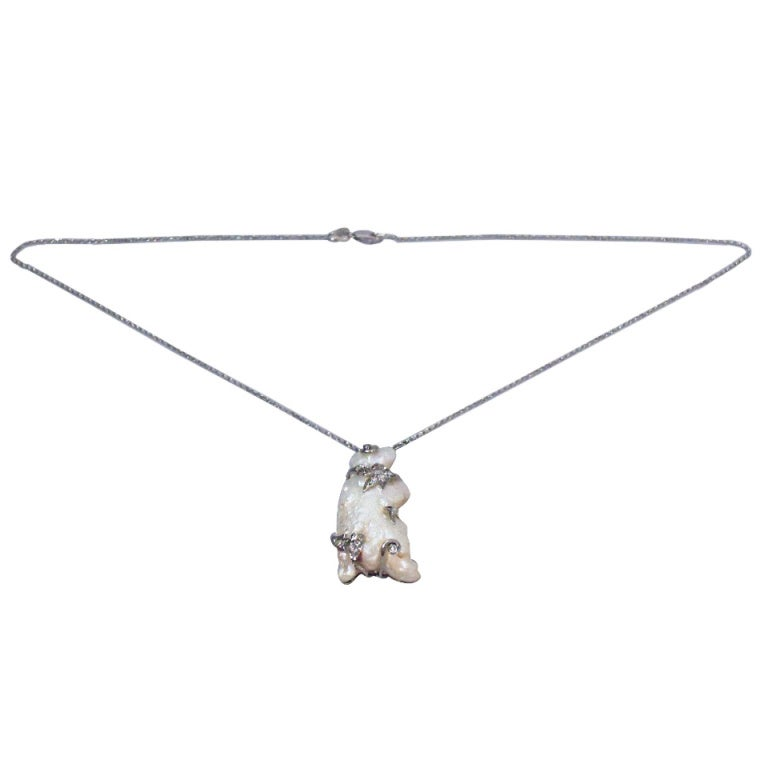 Baroque Pearl Pendant in Form of Bear on 15 Kt Gold Chain For Sale