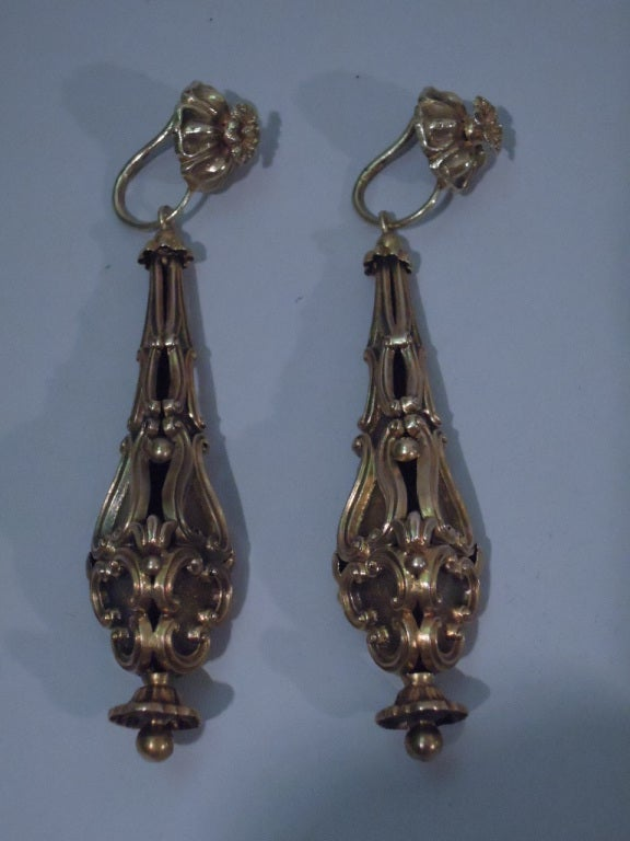 Georgian Earrings - Regency Classicism - 15 Kt Gold - C 1830 3