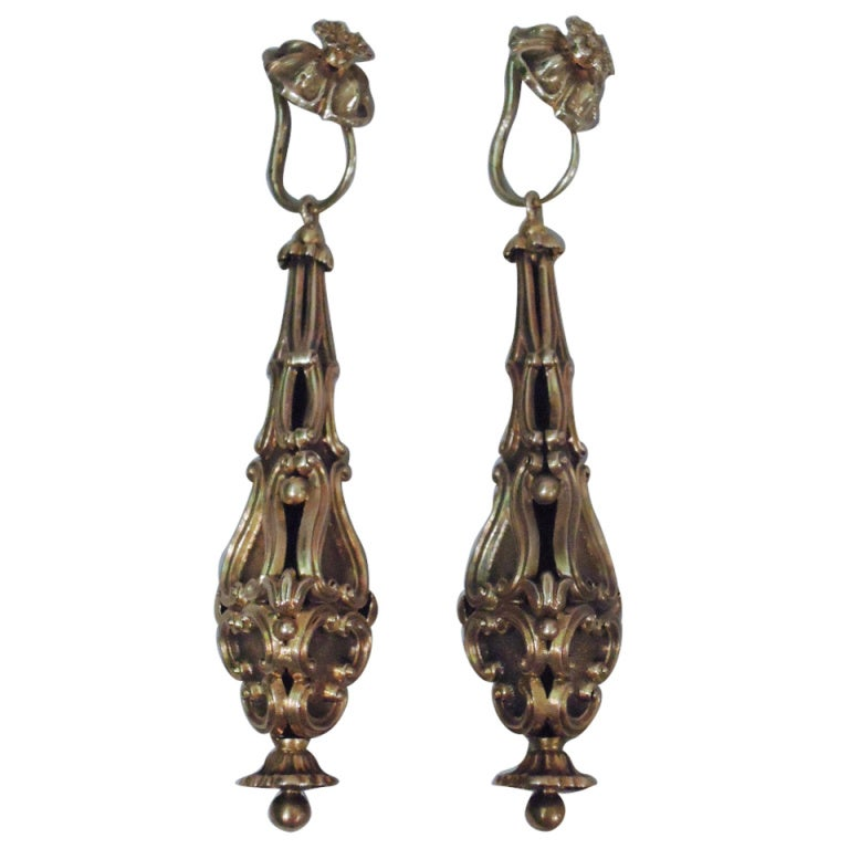 Georgian Earrings - Regency Classicism - 15 Kt Gold - C 1830 1