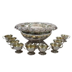 JE Caldwell Sterling Silver Punch Bowl with 10 Cups
