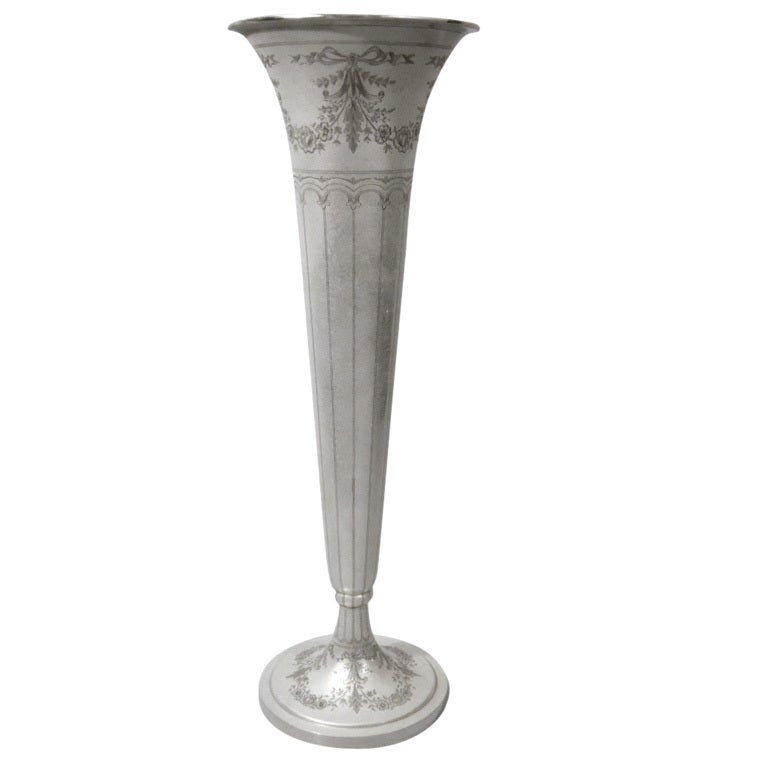 Very Large Whiting Sterling Silver Trumpet Vase 1919 At