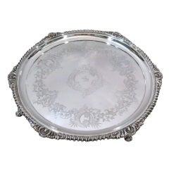 Victorian Salver - Georgian Revival - English Sterling Silver - 1897