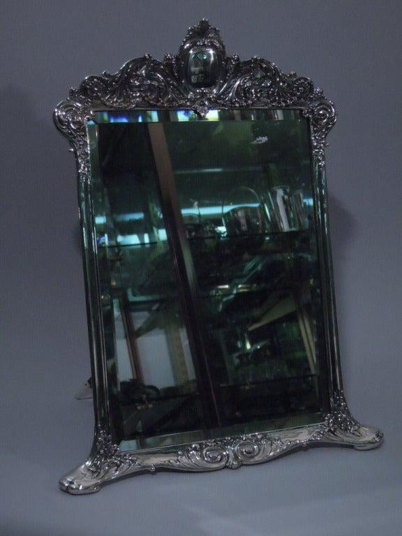antique tiffany sterling silver vanity mirror for sale at 1stdibs. Black Bedroom Furniture Sets. Home Design Ideas