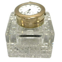 Edward VII 9 Carat Gold Mounted Crystal Inkwell, 1907