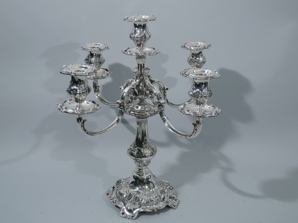 Pair of Reed & Barton Cinq Fleurs Sterling Silver 5-Light Candelabra  2