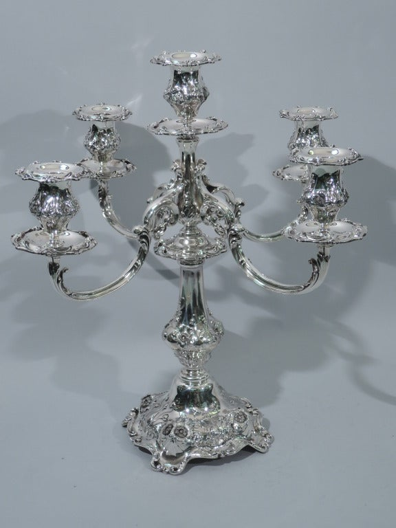 Pair of Reed & Barton Cinq Fleurs Sterling Silver 5-Light Candelabra  3