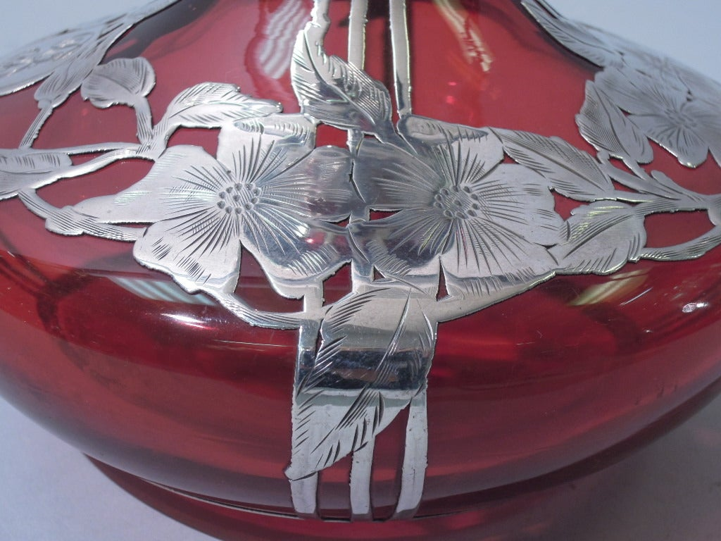 Art Nouveau Perfume American Cranberry Glass With Silver