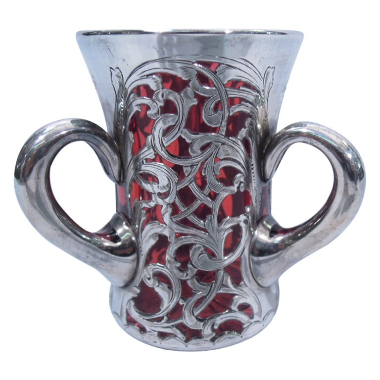 Art Nouveau Loving Cup American Cranberry Glass And