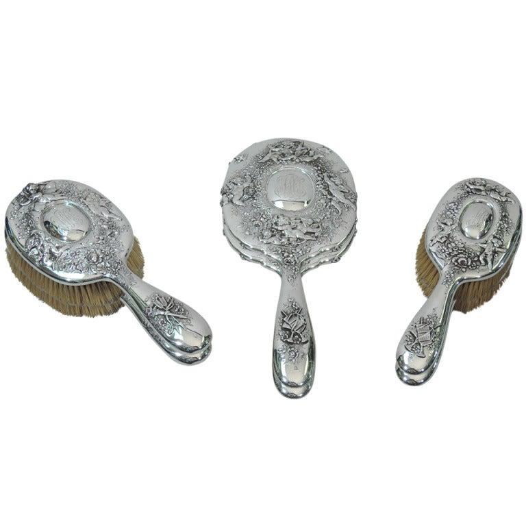 Tiffany Vanity Set - Rococo - American Sterling Silver - C1900 For Sale