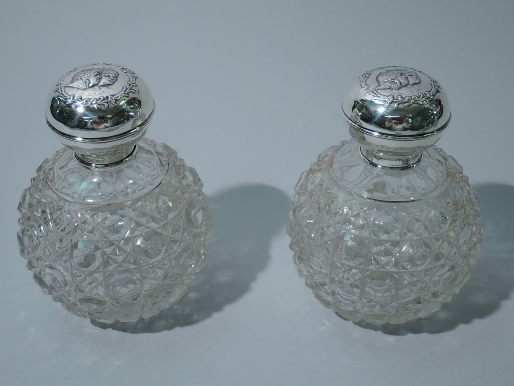 Pair Of Edwardian English Sterling Silver And Cut Glass