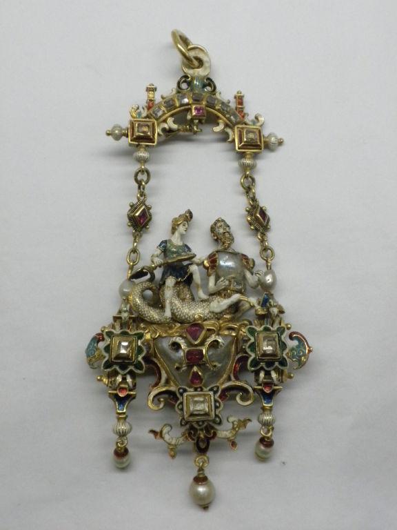 Renaissance Revival Gold And Gemstone Pendant Circa 1880