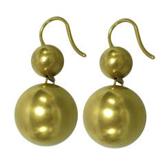 Stunning Victorian Gold Double Ball Earrings Circa 1875