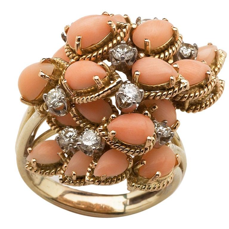Angel Skin Coral And Diamond Ring At 1stdibs