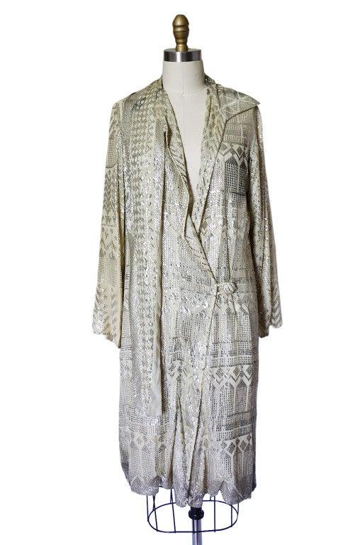 1920s Rare Assuit & Net Silver Flapper Coat 4