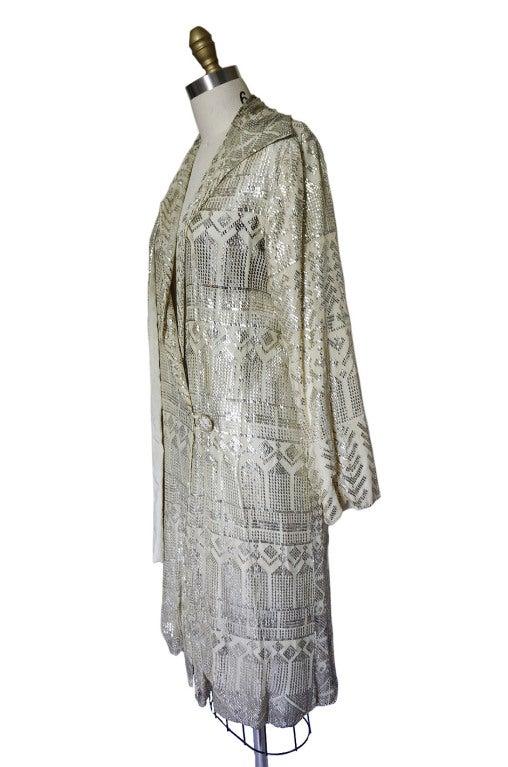 1920s Rare Assuit & Net Silver Flapper Coat 5