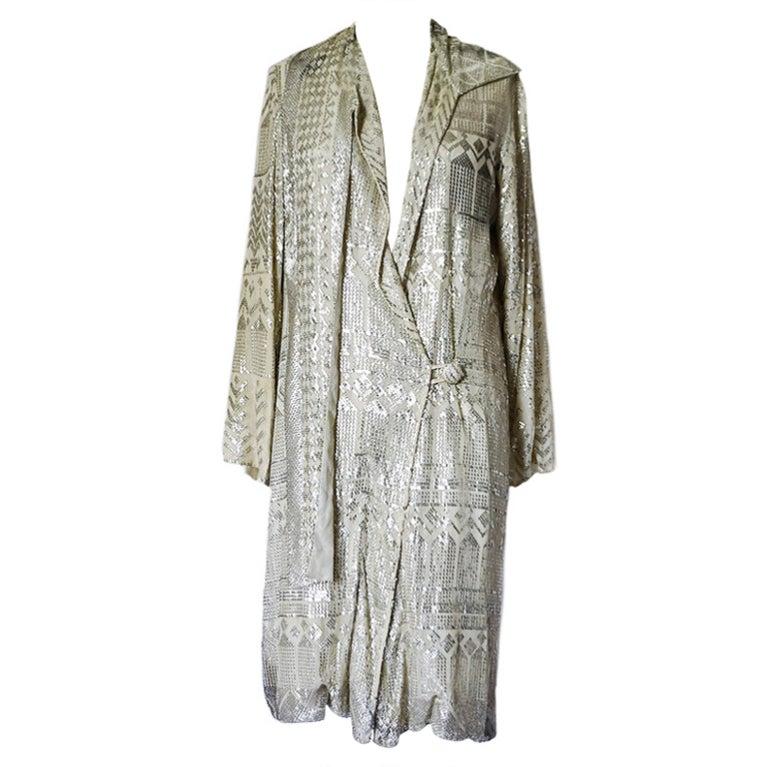 1920s Rare Assuit & Net Silver Flapper Coat 1