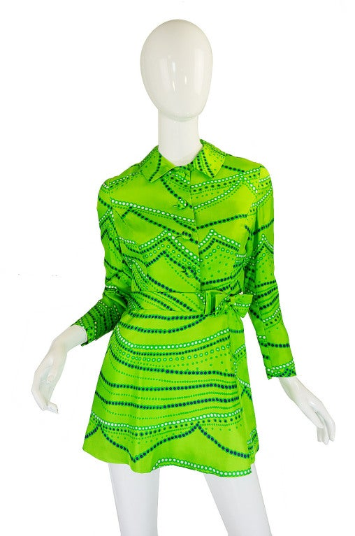 1960s Micro Mini Silk Dress & Jacket image 4