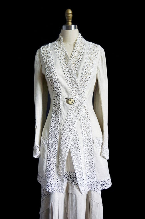 Edwardian Linen And Lace Walking Suit At 1stdibs