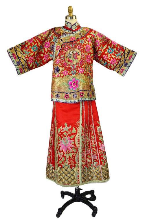Rare Antique Silk Chinese Wedding Set 2
