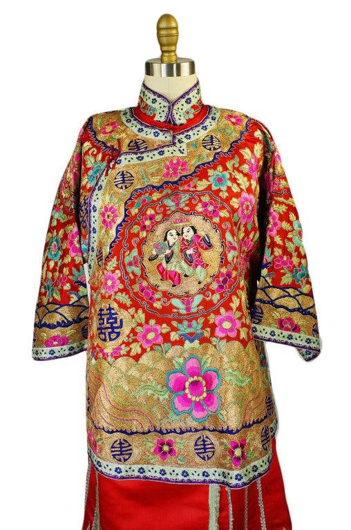 Rare Antique Silk Chinese Wedding Set 4