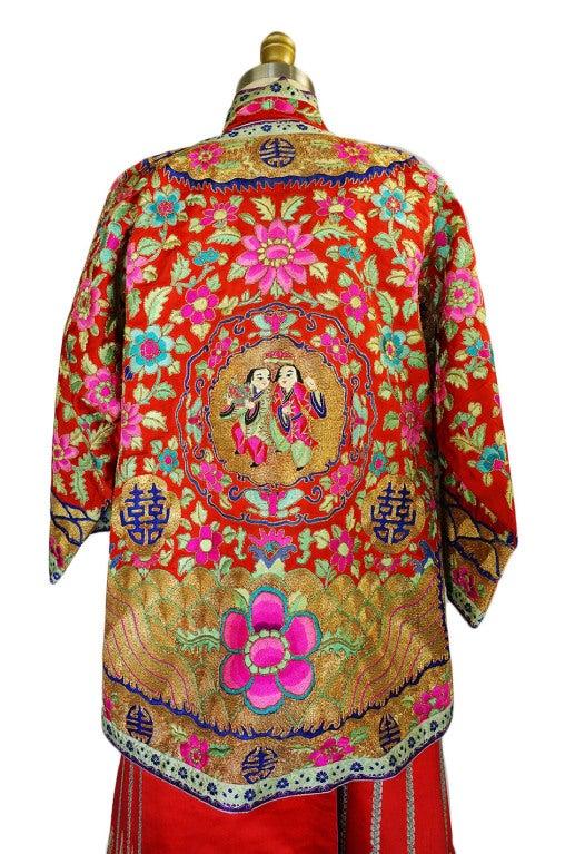 Rare Antique Silk Chinese Wedding Set 6