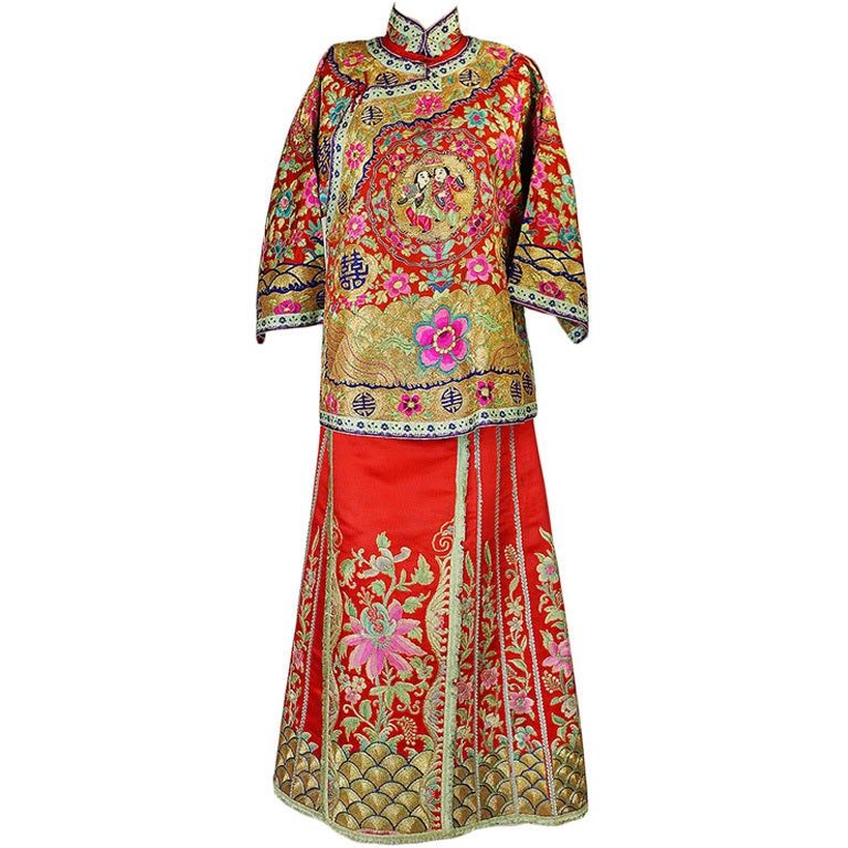 Rare Antique Silk Chinese Wedding Set 1