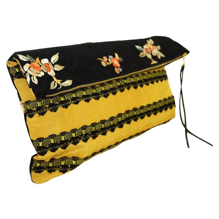 Handmade Antique Kimono Fabric Clutch at 1stdibs