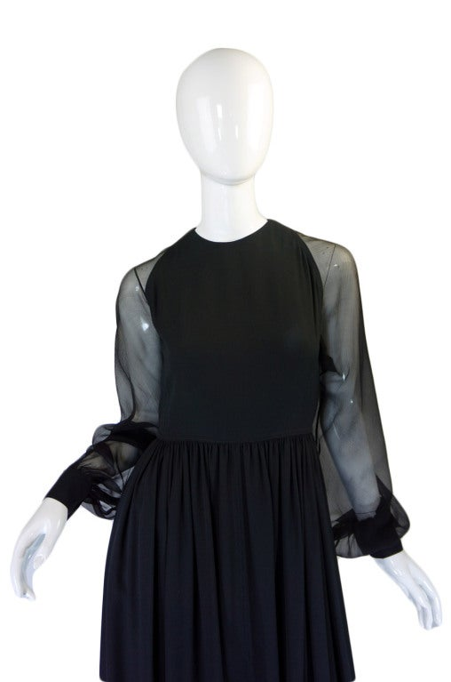1960s Black Silk & Chiffon Galanos Balloon Sleeve Dress 3