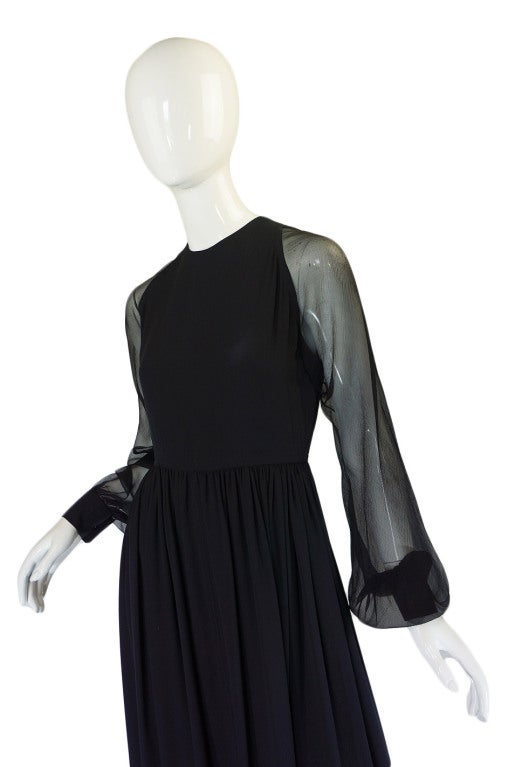 1960s Black Silk & Chiffon Galanos Balloon Sleeve Dress 5