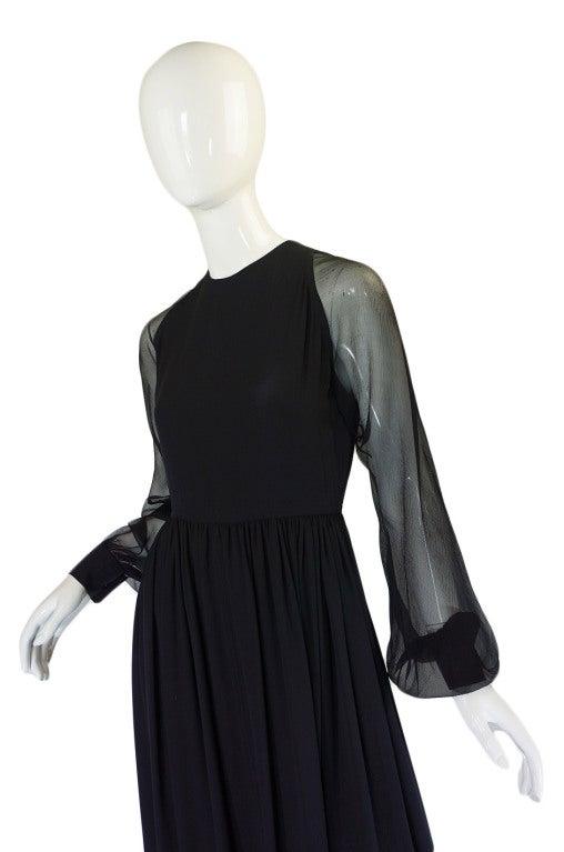 1960s Black Silk & Chiffon Galanos Balloon Sleeve Dress For Sale 1